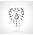 Paper sky lantern heart flat line icon vector image