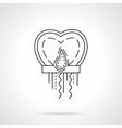 Paper sky lantern heart flat line icon vector image vector image