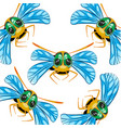 pattern from insect bee on white background vector image vector image
