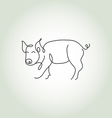 Pig line art vector image vector image
