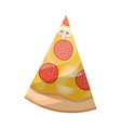 pizza slice in colorful silhouette on white vector image vector image