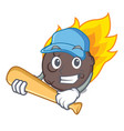 playing baseball meteorite character cartoon style vector image