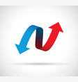 red and blue arrows icon vector image vector image