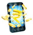 rupee money phone concept vector image vector image