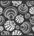 scallop seamless pattern hand drawn seafood on vector image vector image