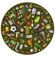 set cartoon doodle football objects vector image vector image