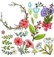 set cartoon flowers vector image