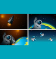 set different space scenes vector image vector image