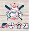 Set of baseball or softball club badge