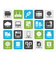 Silhouette Computer Network and internet icons vector image