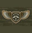 vintage military colorful winged badge vector image vector image