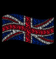 waving united kingdom flag collage of antenna vector image vector image