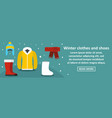 winter clothes and shoes banner horizontal concept vector image vector image