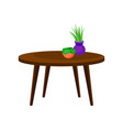 wooden coffee table interior design element vector image
