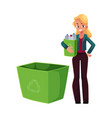 young woman holding box of plastic bottles vector image vector image