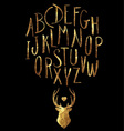 Hand Drawn Gold Foil Letters and Stag Set vector image