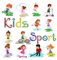 Kids sport isolated boy and girl playing active vector image