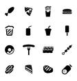 black fastfood icon set vector image