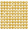 100 plan icons set gold vector image vector image