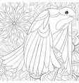 adult coloring bookpage a cute flying dove on the vector image vector image