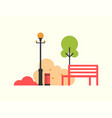 autumn season icons bench and tree street lamp vector image
