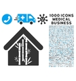 Bamboo House Icon with 1000 Medical Business vector image vector image