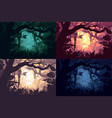beautiful jungle landscapes set vector image vector image