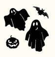 black ghost pumpkin lantern and bat stencil on vector image vector image