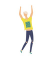 blond dancing young man in t-shirt modern jeans vector image vector image
