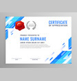 blue modern business certificate design vector image