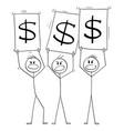 cartoon crowd three men or businessmen vector image vector image