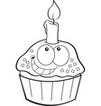 Cartoon cupcake with a candle vector image vector image