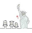 cartoon people in new york with liberty statue vector image