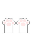 cat paw print leg foot with pink pads cute vector image vector image