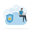 cloud security encryption and secure data vector image