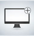 computer monitor with add plus button isolated on vector image vector image
