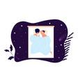 couple sleep together healthy sleeping on bed vector image vector image