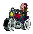courageous biker on a motorcycle vector image