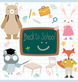 cute animal student back to school vector image
