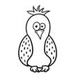 cute cartoon bird with black contour vector image vector image