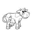 cute cartoon cow coloring book image vector image