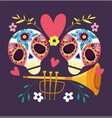day dead catrinas with trumpet flowers vector image vector image