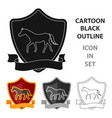 equestrian blaze icon in cartoon style isolated on vector image vector image