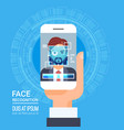 face recognition technology smart phone scanning vector image vector image