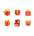 gift box icon set cartoon style vector image
