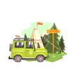 Green suv Parked Nest To The Camp Site vector image
