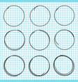 hand drawn circle lines set black scribble vector image vector image