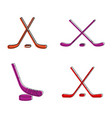 hockey stick icon set color outline style vector image vector image