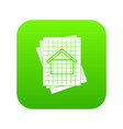house blueprint icon digital green vector image vector image