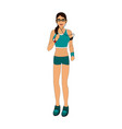 jogging girl cartoon vector image
